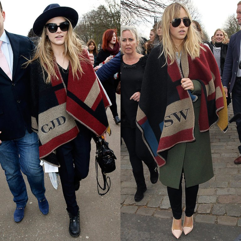 Cara-Delevingne-Burberry-Monogrammed-Poncho