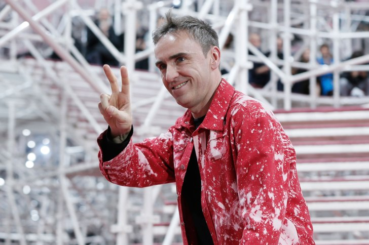 Belgian designer Raf Simons appears at the end of his Haute Couture Spring Summer 2015 fashion show for French fashion house Christian Dior in Paris